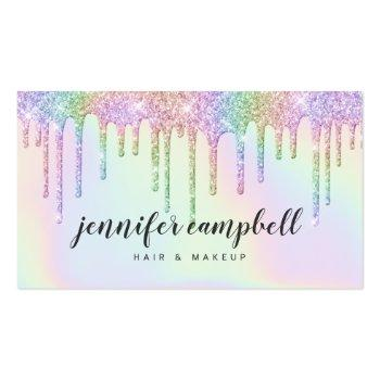 Small Holographic Unicorn Makeup Hair Glitter Drips Glam Business Card Front View