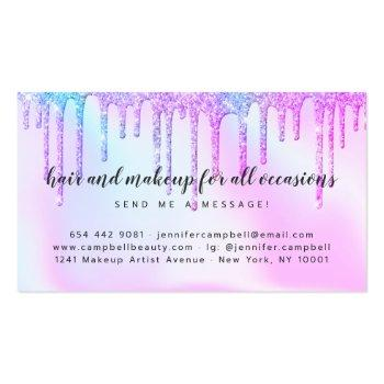 Small Holographic Unicorn Makeup Hair Pink Glitter Drips Business Card Back View