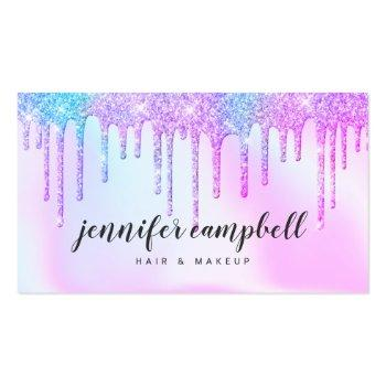 Small Holographic Unicorn Makeup Hair Pink Glitter Drips Business Card Front View
