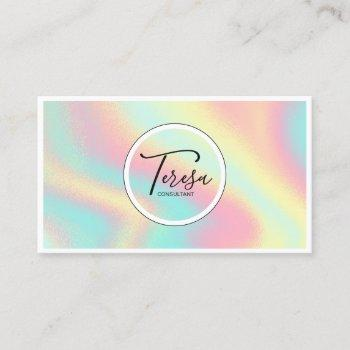 holographic waves rainbow pastel id564 business card
