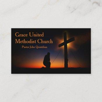 holy cross at sunset (personalize) business card