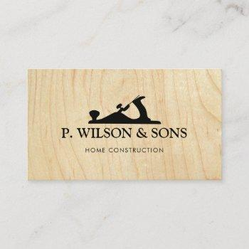 home construction and carpenter wood grain business card