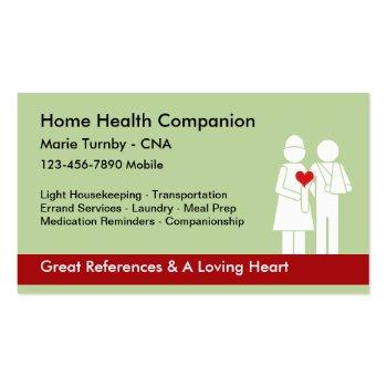 Small Home Health Companion Cna Business Card Magnet Front View