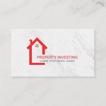 home icon | real estate | marble business card