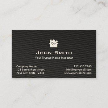 home inspection modern black carbon fiber business card