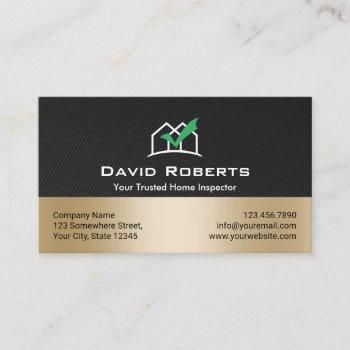 home inspection modern black & gold real estate business card