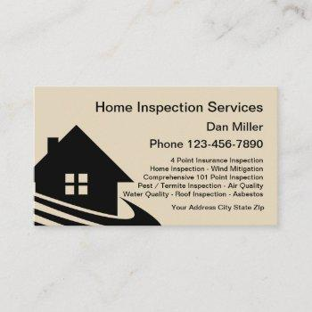 home inspection services business cards