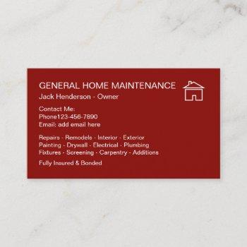 home maintenance handyman business card