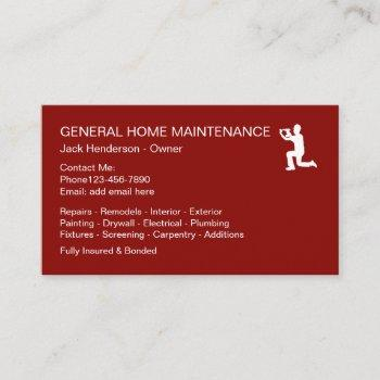 home maintenance handyman symbol business card