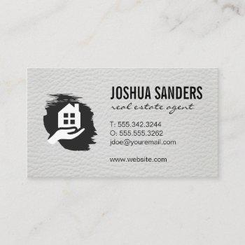 home real estate | investor | leather trim business card