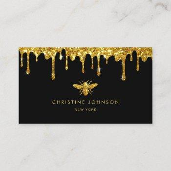 honey drips faux gold glitter bee business card