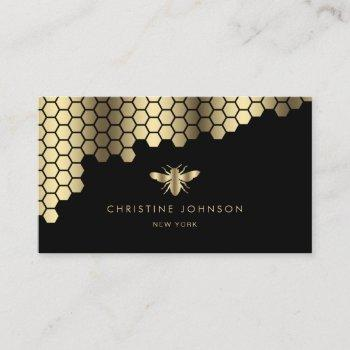 honeycomb faux gold foil bee business card