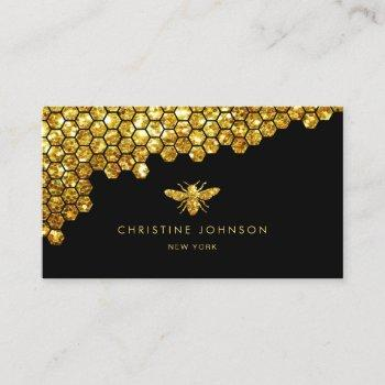 honeycomb faux gold glitter bee business card