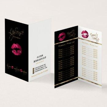 hot pink and gold lip price and service list business card