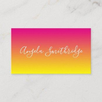 hot pink and yellow ombre business card