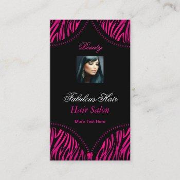 hot pink black 2 zebra fold over beauty hair salon business card