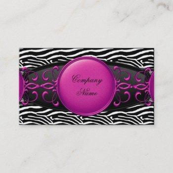 hot pink black white silver elegant zebra stripe business card