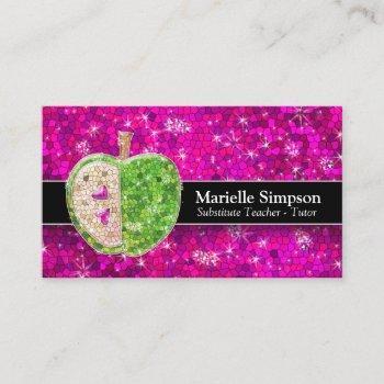 hot pink glitter apple substitute teacher tutor business card