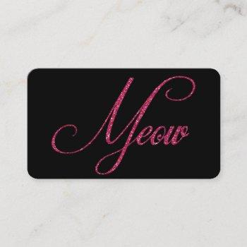 hot pink glitter look meow cat business cards