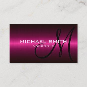 hot pink stainless metal professional business card