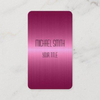 hot pink stainless steel metal business card