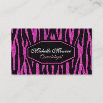 hot pink zebra stripe business card