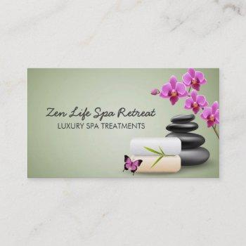 hot stone day spa business card