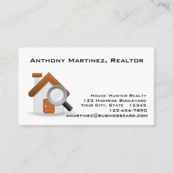 house and magniyfing glass business card