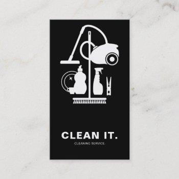 house cleaner black and white cleaning service business card