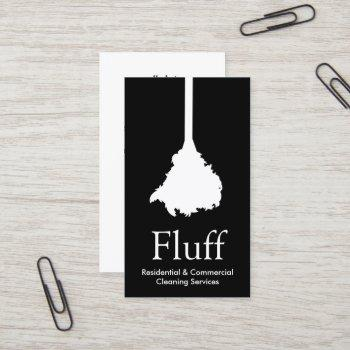house cleaner feather duster cleaning service business card