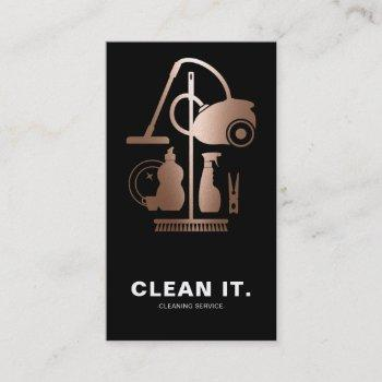house cleaner rose gold cleaning service business card