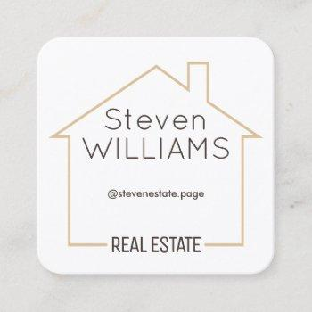 house shape tan frame square business card