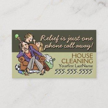 housecleaning.maid service.custom text/color business card