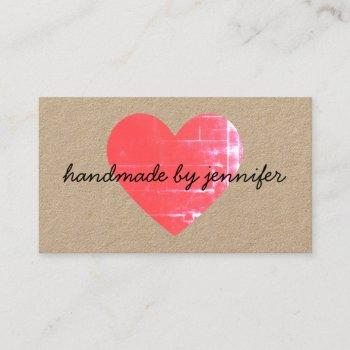 i love heart handmade by name with social media business card