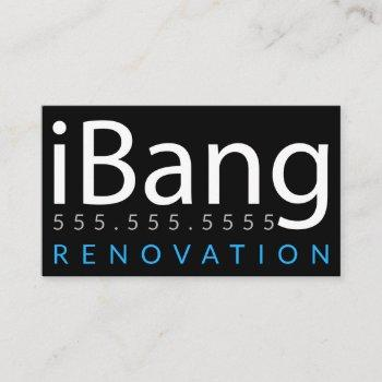 ibang. construction roofing renovation business business card