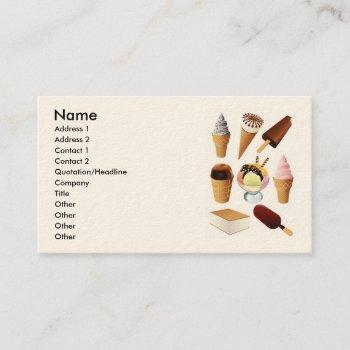 ice cream, name, address 1, address 2, contact ... business card