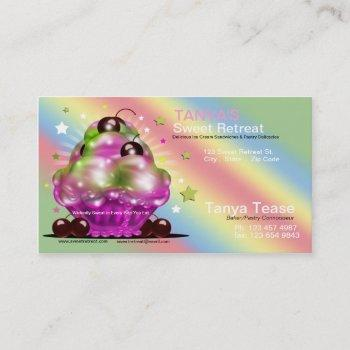 ice cream sundae tart cherry topping business card