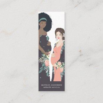 illustrated colorful + floral midwife mini business card
