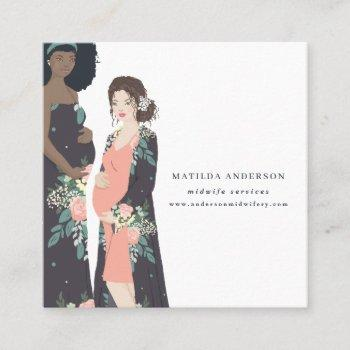 illustrated colorful + floral midwife square business card