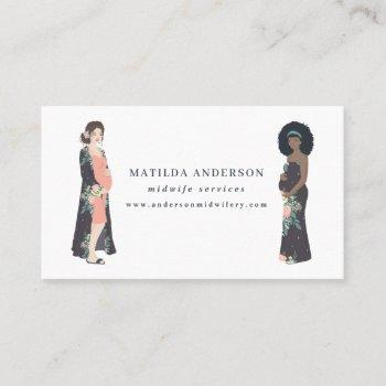 illustrated pregnant mom colorful + floral midwife business card