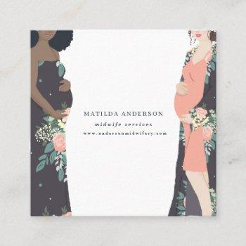illustrated prgenant mom colorful + floral midwife square business card