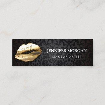 impressive eye catching 3d gold lips makeup artist mini business card