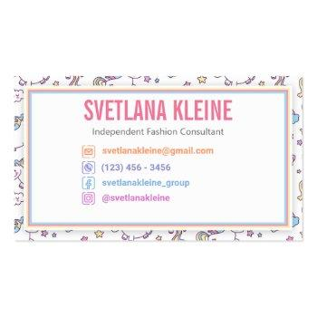 Small Independent Fashion Retailer Business Card Unicorn Back View