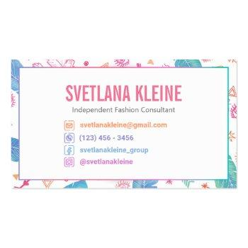 Small Independent Fashion Retailer Business Cards Boho Back View