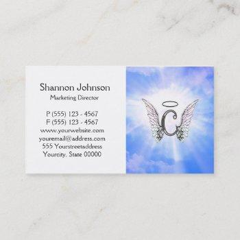 initial monogram c with angel wings, halo clouds business card