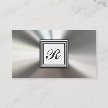initial monogram silver metal business cards