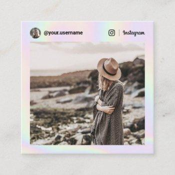 instagram photo social media holographic rainbow calling card