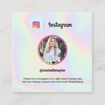 instagram photo trendy holographic pastel rainbow calling card