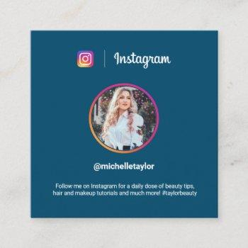 instagram photo trendy social media modern blue calling card