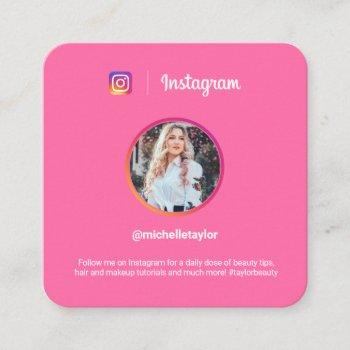 instagram photo trendy social media modern fuchsia calling card
